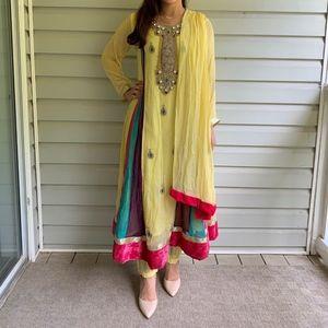 Pastel Yellow Indian/Pakistani Anarkali Suit